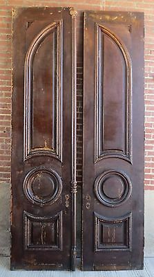 Pair of Large Antique 10' Tall Doors - Solid Wood - Raised Panel