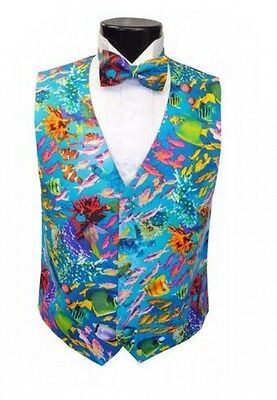Tropical Coral Reef Tuxedo Vest and Bowtie