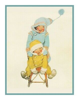 Mom Bundling Child for Outside Jessie Willcox Smith Counted Cross Stitch Pattern