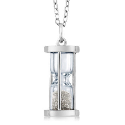 """925 Silver Hourglass Pendant with 0.50 Ct Genuine Diamond Dust & 18"""" Chain"""
