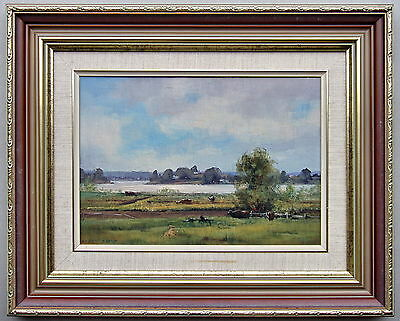 Kasey Sealy River Scene Framed Oil Painting