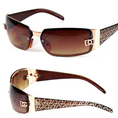DG Womens Fashion Designer Sunglasses Shades Rectangular Wrap Around Gold Brown