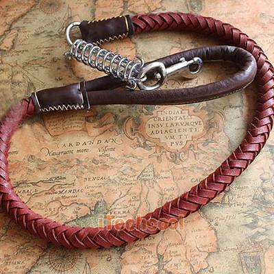Pets Lead Woven Leather Leash Heavy Duty Traction Rope large Medium-sized Dog
