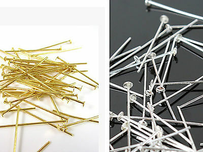 wholesale 100Pcs 1.8/2/2.2/2.6cm Plated Flat Head Pins Jewellery Craft Findings