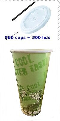 1000 Pieces  Paper cups And Lids Milkshake cups, cold cups, 16 Oz 500 ML