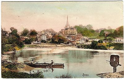 Colour Postcard Man Carrying Coracle-Riverside-St. Mary`s Church-Ross-On-Wye