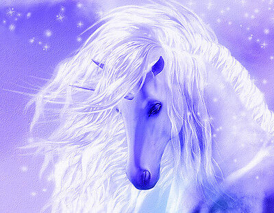 "Beautiful Unicorn flowing mane blue purple CANVAS ART PRINT  8""X 10"" horse"
