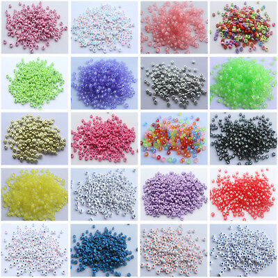 Pretty 100-200pcs Acrylic Mixed Alphabet Letter Coin Round Spacer 4x7mm Beads