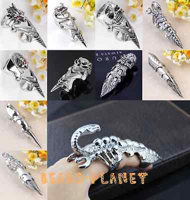 Silvery Spike Armor Knuckle Joint Full Finger Ring Rock Punk Gothic Men Jewelry