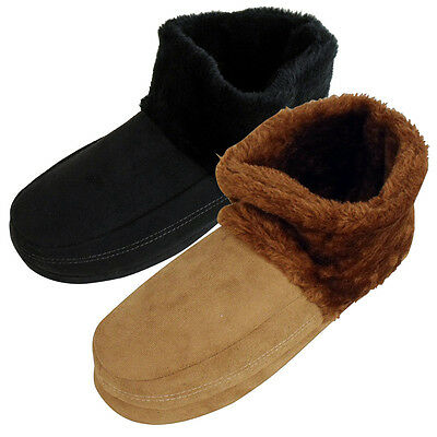 Mens Dunlop Ankle Boot Furry Slipper Bootee Faux Suede Warm Slippers Sizes 7-12