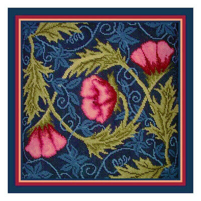 William Morris inspired Pink Poppies Counted Cross Stitch Chart Graph