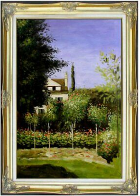 Framed Hand Painted Oil Painting, Claude Monet Garden Flowers Repro, 24x36in