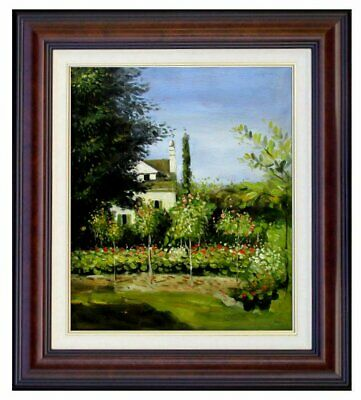 Framed Claude Monet Garden Flowers Repro, Hand Painted Oil Painting, 20x24in