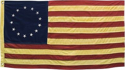 "Betsy Ross American Flag Yellowed/Aged Look 28"" X 17"" Patriotic Americana"