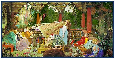 Russian Viktor Vasnetsov's Sleeping Beauty Counted Cross Stitch Chart Pattern