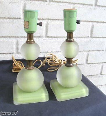 Beautiful Pair Vintage Green Satin Glass Electric Lamps!