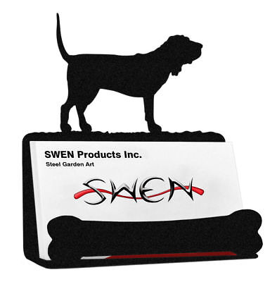 SWEN Products BLOOD HOUND Dog Black Metal Business Card Holder