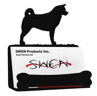 SWEN Products AKITA Dog Black Metal Business Card Holder