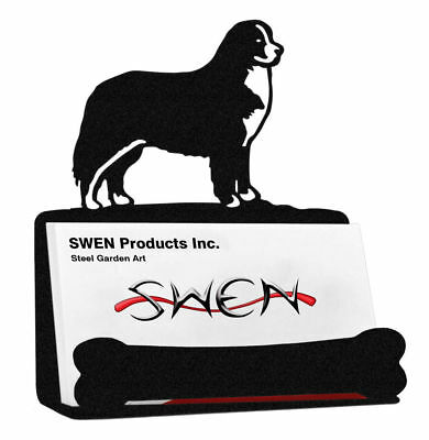 SWEN Products BERNESE MOUNTAIN DOG Black Metal Business Card Holder