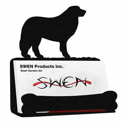 SWEN Products GREAT PYRENEES Dog Black Metal Business Card Holder
