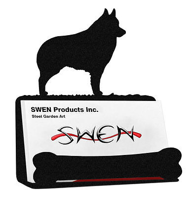 SWEN Products SCHIPPERKE Dog Black Metal Business Card Holder