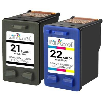 2 PACK For HP 21/22 Black Color Ink Combo For Deskjet 3910 3920 3930 3940