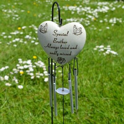Special Brother Always Loved Sadly Missed Memorial Heart Wind Chime Graveside