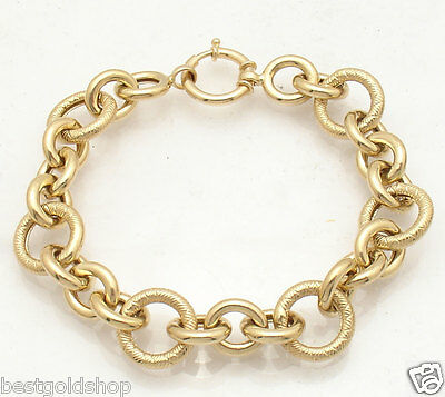 QVC Bold Textured Rolo Circle Bracelet Real 14K Yellow Gold FREE SHIPPING