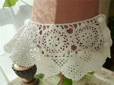 Lovely Hand Crochet Lace Collar White Cotton NEW082003