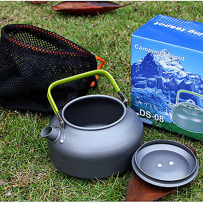 0.8L Necessary Camping Survival Water Kettle Teapot Pot Aluminum With Mesh Bag