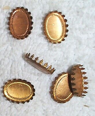 Vintage Multi Paw Prong Brass Oval Settings Mountings 18 Pieces Nice