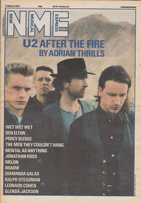 New Musical Express NME U2 After the fire Cover issue 14th March 1987