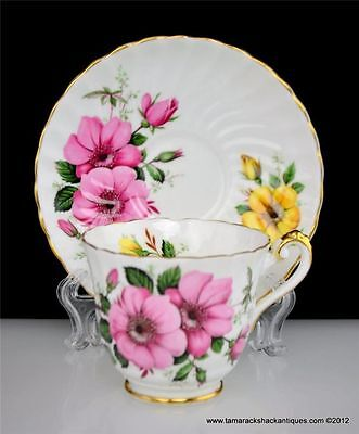 Sutherland Bone China Footed Cup & Saucer Set Pink Yellow Flower Gilded Vintage