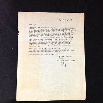 Original 1955 Ray Bradbury letter Discussing Science Fiction and Caedmon Records