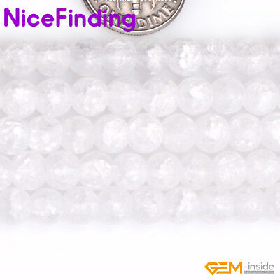 """4mm-16mm Round Crackle White Crystal Quartz Stone Beads For Jewelry Making 15"""""""