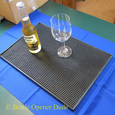 Black Rubber Service Spill Bar Mat, 18 x 12 inches, Great for Kitchen or Bar NEW