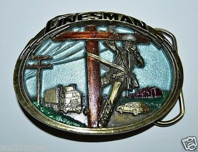 WOW Vintage 1986 Telephone Linesman Colored Brass Tone Solid Belt Buckle Rare