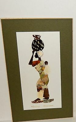 Moses Michall Real Butterfly Wings African Woman Hand Signed Painting #1