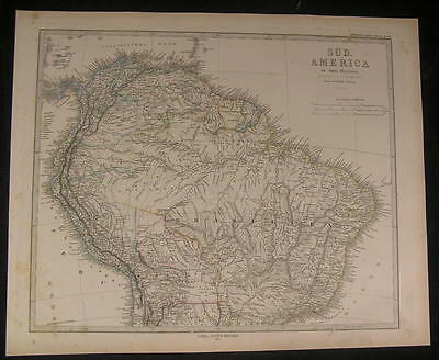 Northern South America Ecuador Guyana Brazil 1873 old engraved hand color map