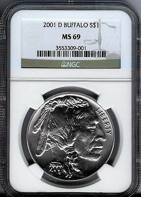 2001-D Buffalo  Commem Silver $1  -  Ngc -  Ms69  - Mint State 69