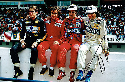 Nigel MANSELL & Nelson PIQUET Autograph SIGNED 12x8 Wall of Champions AFTAL COA