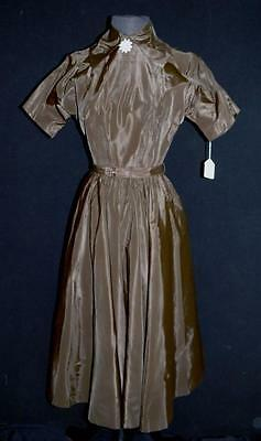 Rare Vintage Deadstock Never Worn 1950's Dark Brown Rayon Taffeta Dress Size 4