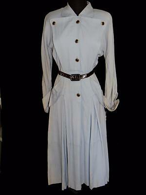 Rare Vintage Deadstock Never Worn Early 1950's Grey Rayon Gabardine Dress