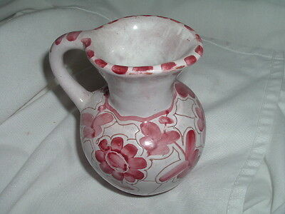 Vintage Norwegian Red And White Floral Vase Pitcher Norway