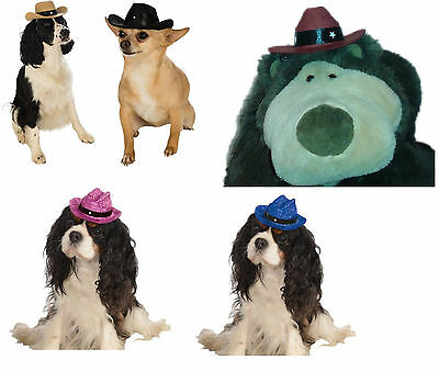 Pet Cowboy Hat Brown Black Maroon - Pink or Blue Glitter Costume Accessory fnt