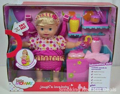 Little Mommy Laugh & Love Baby Doll Interactive Giggles Bounces Baby Talk New