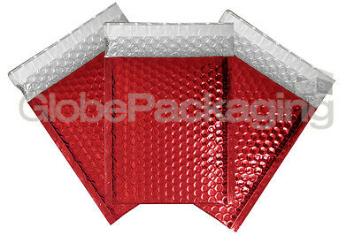 10 x SHINY METALLIC GLOSS RED FOIL BUBBLE PADDED ENVELOPES BAGS 180x250mm D/1
