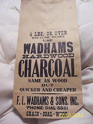 Vintage Unused 4+ POUNDS PAPER COAL BAG F.L. WADHAM'S & SONS Great XMAS gag wrap