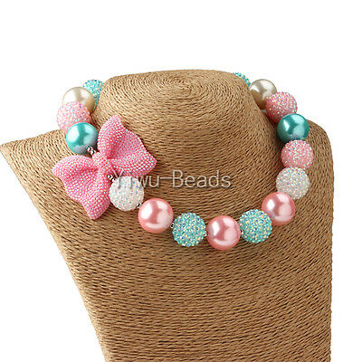 New Pink Bowknot Candy Solid Chunky Bubblegum Beaded Necklace for Kids Girls