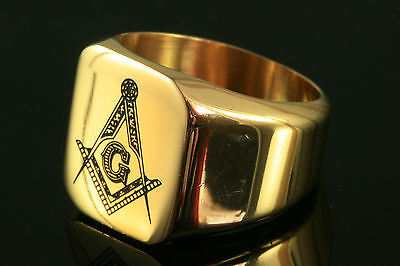 24K Gold Plated Stainless Steel Masonic Ring Various Sizes Gift
